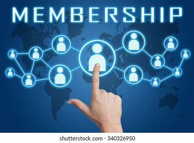 Membership concept with hand pressing social icons on blue world map background.