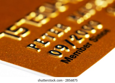 Membership Credit Card in gold isolated on white background