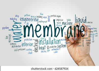 Membrane word cloud concept on grey background