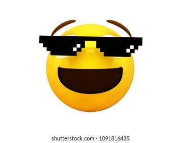 Meme emoji 3d rendering isolated