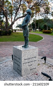Memeorial to the holocaust in Oranjestad, Aruba with a statue of a nazi soldier on a stone plinth