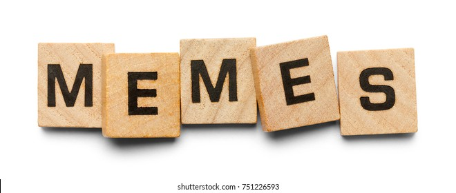 Memes Spelled with Wood Tiles Isolated on a White Background.
