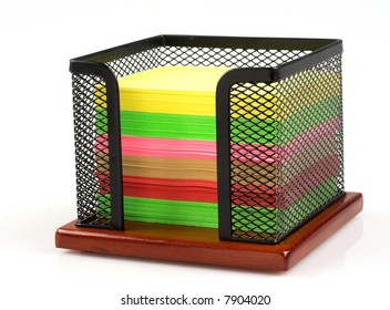 Memo cube stand and color notes isolated
