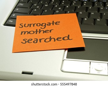 Memo note on notebook, surrogate mother searched