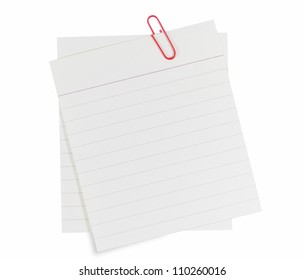 Memo notes with red paper clip