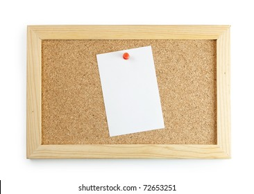 A memo sheet pinned to the center of a cork board with a red push pin.