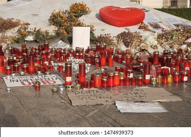 Memorial for Alexandra Macesanu killed even if she called 112 while captive. Interior Ministry Headquarters. Bucharest, Romania, August 5, 2019