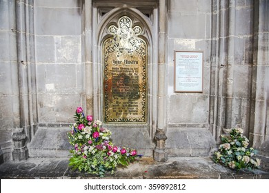 memorial brass dedicated to Jane Austen, english novelist  in Winchester Cathedral, England