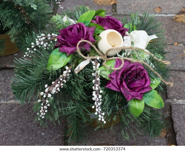 Memorial Bucket Artificial Flowers On Artificial Stock Photo Edit Now 720353374