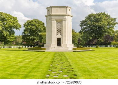 The Memorial Building and Chapel at the American World War One Cemetery at Flanders Fields, Waregem, Belgium. Nearly 370 American war dead are buried here.