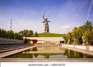 "Memorial complex ""Heroes of the Battle of Stalingrad"" on the Mamayev Hill and the monument ""Motherland Calls"" in Volgograd in the Autumn Day"