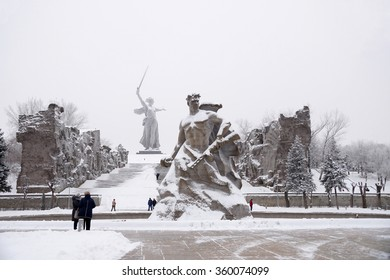 Memorial complex Mamayev Kurgan in the hero-town of Volgograd in winter time under snow