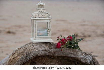memorial consept with candel and flowers
