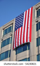 Memorial Day. Buildings of Arlington VA were decorated with flags in the National Memorial Day.