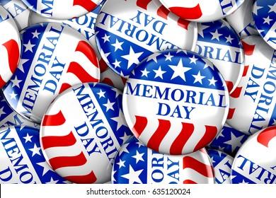 Memorial day button background - 3d render
