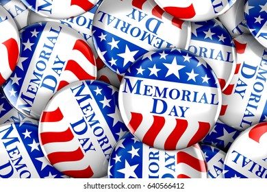 Memorial day button background - 3d render