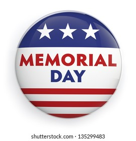 Memorial day button badge with USA flag stars and stripes.