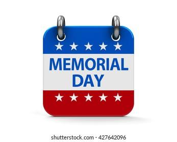 Memorial day calendar icon as american flag, three-dimensional rendering, 3D illustration