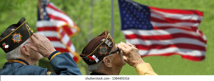 Memorial Day Ceremony hold in Lexington, Massachusetts on May 26, 2014. Veteran Saluting.