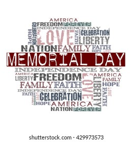 Memorial Day Different Words on white background