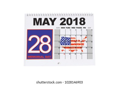 Memorial Day May 28 Calendar white background