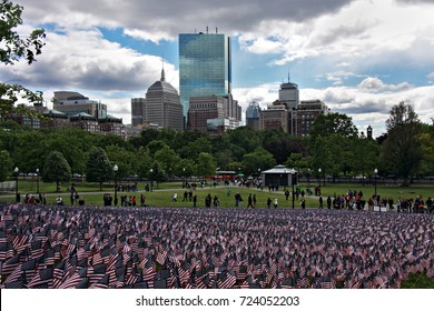 Memorial Day on Boston Common, in memory of those that gave all. Americans Flags for every solider from Massachusetts.