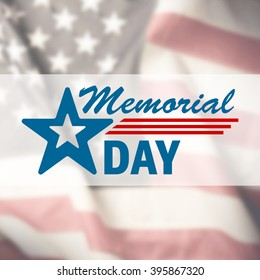 Memorial Day sign on USA flag background
