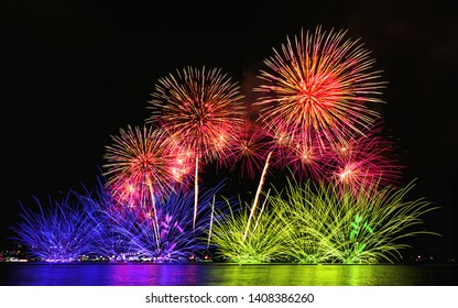 Memorial Day spectacular or anniversary Concept. Abstract beautiful brightly colorful fireworks at celebration night.