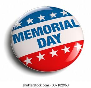 Memorial Day USA celebration isolated badge icon.