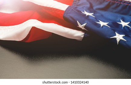 MEMORIAL DAY and USA flag on gray background. Honoring all who served          - Image