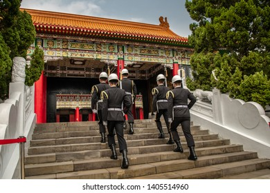 Memorial to fallen soldiers in Taipei. Taiwan March 14, 2019. The Changing of the Guard.
