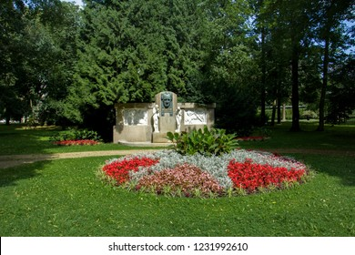 Memorial of famous German poet and thinker Johann Wolfgang Goethe in the park in Frantiskovy Lazne (Franzensbad) - spa town in west Bohemia - Czech Republic - Europe