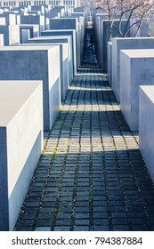 Memorial of holocaust in Berline (Germany). Cement blocks, grey colors.