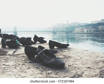 The memorial of Holocaust at the edge of Danube river, Shoes on the Danube Bank which represents the shoes of the victims left behind on the bank, Budapest, Hungary