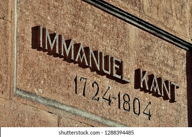 Memorial inscription on the grave of German philosopher Immanuel Kant. Kaliningrad, formerly Koenigsberg, Russia