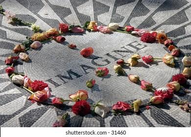 Memorial mosaic to John Lennon located in Central Park, NY