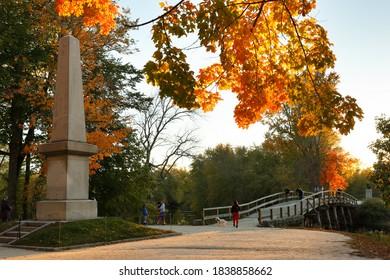 The Memorial Obelisk of North Bridge, often colloquially called the Old North Bridge in Concord, Massachusetts . The bridge is a historic site in Concord, Massachusetts spanning the Concord River.