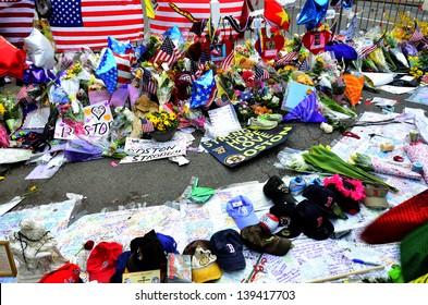 Memorial on Boyston Street in Boston after bombings with written statements