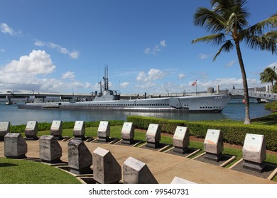Memorial in Pearl Harbor with submarine USS Bowfin in the background