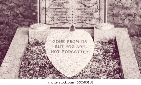 Memorial Plaque on the Grave, Fine Art Blended with Stone texture, Gone from Us but you are not Forgotten, Shallow Depth of Field