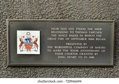 Memorial plaque showing information of the great fire of London in 1666.  The fire was started in a Bakery shop by The Kings Baker, in Pudding Lane, London, UK - 2017