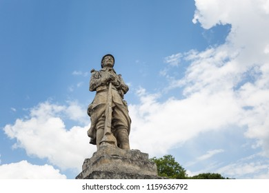 A memorial statue for WWI in Gordes, Provence, France