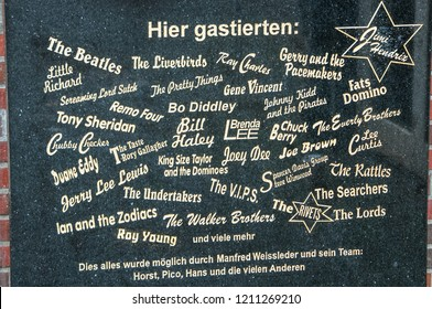The memorial stone of the historical Star Club at the place where the club was in the 1950s and 1960s at Grosse Freiheit. Hamburg, St. Pauli, Germany, 08.17.2010