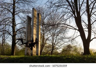 The memorial of strike victims in the mine Trojice (Pamatnik obetem stavky na Dole Trojice) in 1894 located at Tesinska Street in Ostrava - Shutterstock ID 1075231559