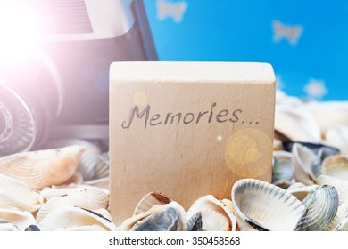 Memories message on the beach - vacation and travel concept