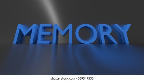Memory concept words - blue text on grey background.