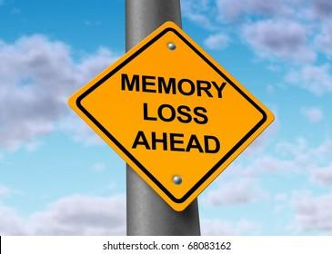 memory loss alzheimer's ahead road street sign
