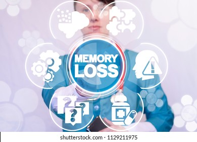 Memory Loss Medical concept. Dementia and alzneimer disease. Doctor presses a memory loss words on a virtual screen.