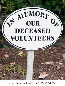 IN MEMORY OF OUR DECEASED VOLUNTEERS sign