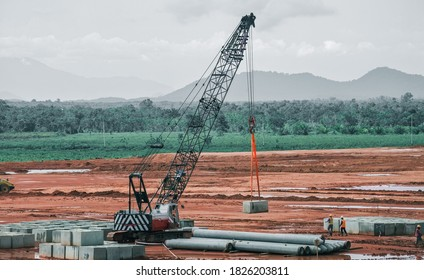 MEMPAWAH INDONESIA, OCTOBER 03, 2020 : Sumitomo Crane Doing Lifting for Construction Works on Alumina Smelter Development